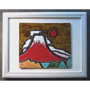 オリジナル美術陶板 赤富士シリーズ・錦秋その2|touban-art