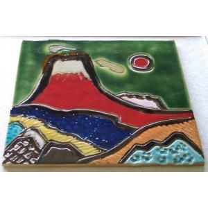 オリジナル美術陶板 赤富士シリーズ・錦秋その1|touban-art