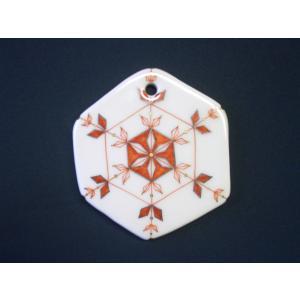 お待たせいたしました! 九谷焼陶器クリスマス・オーナメント『雪の結晶〜赤絵に金彩銀彩』約9cm|touban-art