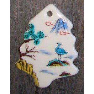 お待たせいたしました! 九谷焼クリスマス・オーナメント陶板『古九谷山水風〜モミの木』 約10×8cm|touban-art
