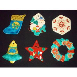 お待たせいたしました! 九谷焼陶器クリスマス・オーナメント6種セット・創作柄Bタイプ|touban-art