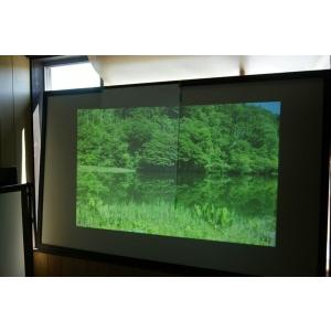 どこから見ても明度一定の美しい映像を実現した珪藻土プロジェクタースクリーンです。72インチ7.9kg|touban-art|02