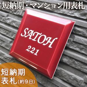 【タイル表札】鮮やかなレッドが魅力。激安価格でプチサイズの正方形凹文字タイル表札 T1プチメゾンレッド サイズ:約100×100×8mm|touban-art