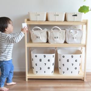 おもちゃをすっきり。コンパクトで収納力のあるお片づけラック[材質]:天然木(パイン材)塗装  [カラ...