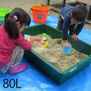 砂遊び 家 家庭用 砂場 サンドボックス プラ舟 80L グリーン _PP02