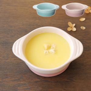 お子さまに食べさせやすい取っ手付きディッシュ 出産祝いに[材質]:ストーンウェア  [カラー]:パス...