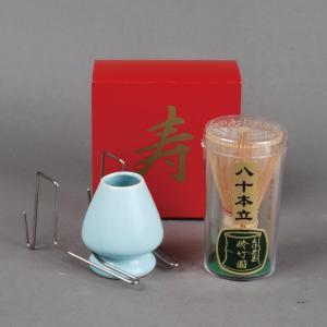 賀正茶筅セット(赤糸 80本立茶筅、茶筅休、茶筅休ホルダーの3点セット)