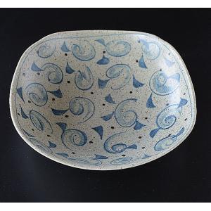 藍の渦 ゆる四角 大鉢|toukistudio