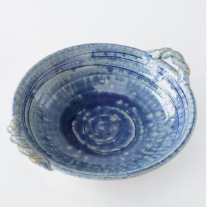 手作り 綱の持ち手 藍色大盛鉢|toukistudio