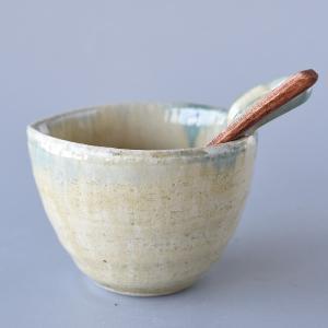 納豆鉢 木製スプーン付き 黄織部流し|toukistudio