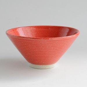 松助窯 手作り カラフルご飯茶碗 赤