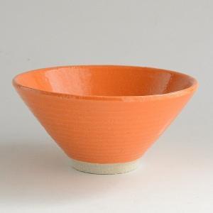 松助窯 手作り カラフルご飯茶碗 オレンジ