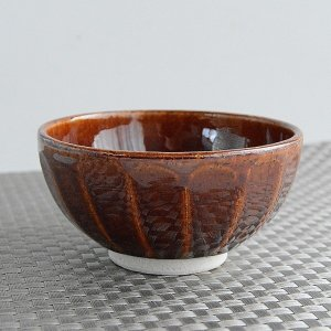 松助窯 茶アメ釉 ご飯茶碗/カフェボウル|toukistudio