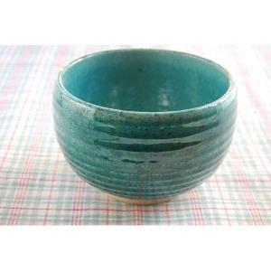 松助窯 織部ブルー 手作りゆったり丼 つやあり|toukistudio