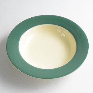 リンドスタイメスト グリーン&イエロー 塗り分けスープ皿|toukistudio