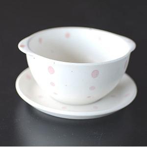 ピンクのドット スープカップ&ソーサー|toukistudio