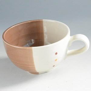塗り分け茶ドットスープカップ|toukistudio