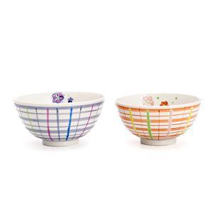 (九谷焼)飯碗 チェック 赤/色絵九谷 遊 和食器 茶碗 ご飯茶碗 人気 ギフト 贈り物 結婚祝い/内祝い/お返し/|toulife