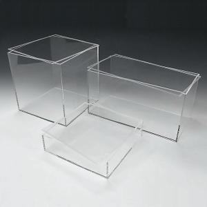 アクリル透明収納BOX W350mm×H350mm×D300mm 板厚4mm    透明ケース アクリルケース クリアケース プラスチックケース 収納ボックス|toumeikan