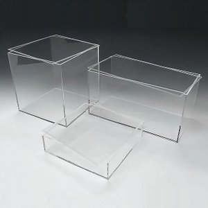 アクリル透明収納BOX W400mm×H400mm×D200mm 板厚4mm    透明ケース アクリルケース クリアケース プラスチックケース 収納ボックス toumeikan