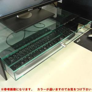 キーボード収納式モニター台<br> 1段引出しラージタイプ ベース透明 側板ブラック toumeikan 02