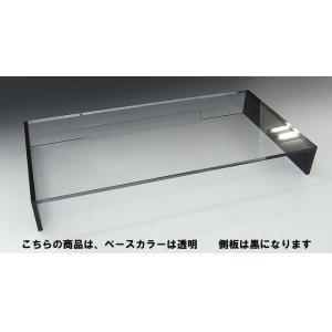 キーボード収納式モニター台<br> 1段引出しラージタイプ ベース透明 側板ブラック toumeikan 03