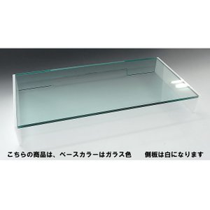 キーボード収納式モニター台<br> 1段引出しミドル&スモールタイプ ベースガラス色 側板ホワイト toumeikan 03
