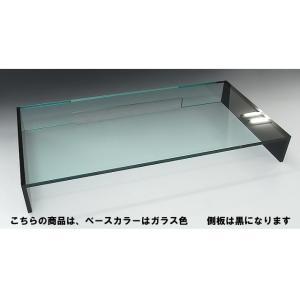 キーボード収納式モニター台<br> 1段引出しスモール&ミドルタイプ ベースガラス色 側板ブラック|toumeikan|03