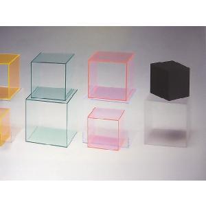 アクリル小物台(サイコロ 4面体) ガラス色 W200mm×D200mm×H200mm 板厚5mm (アクリルステージ)|toumeikan