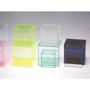 アクリル小物台(サイコロ 5面体) ガラス色 W250mm×D250mm×H250mm 板厚5mm (アクリルステージ)|toumeikan