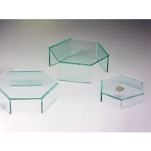 六角ディスプレイ台(I型) ガラス色 W200mm×D174mm×H85mm 板厚5mm (アクリルステージ)|toumeikan