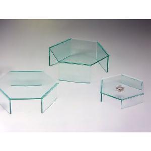 六角ディスプレイ台(I型) ガラス色 W250mm×D217mm×H85mm 板厚5mm (アクリルステージ)|toumeikan