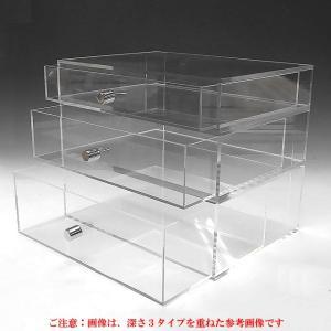 重厚引出し式アクリルケース 横長タイプ A3サイズ 引出し深さ50mm     収納 透明ケース アクリル板 クリアケース プラスチックケース|toumeikan|03