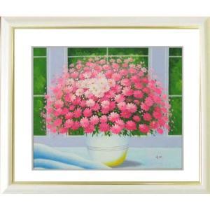 絵画 油絵 肉筆絵画 壁掛け (額縁 アートフレーム付き) 開運風水絵画 ヒラリーメイヤー作 「窓辺のピンクの花 L 」|touo