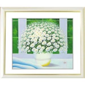 絵画 油絵 肉筆絵画 壁掛け (額縁 アートフレーム付き) 開運風水絵画 ヒラリーメイヤー作 「窓辺の白い花 L 」|touo