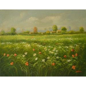 ヨーロッパ絵画 油絵 肉筆絵画 壁掛け (額縁 アートフレーム付きで納品対応可) サイズF6号 バスコ作 「花畑」|touo