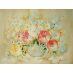 ヨーロッパ絵画 油絵 肉筆絵画 壁掛け (額縁 アートフレーム付きで納品対応可) サイズF6号 ベリーニ作 「花瓶の花束」|touo