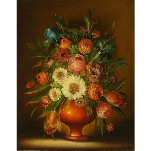 ヨーロッパ絵画 油絵 肉筆絵画 壁掛け (額縁 アートフレーム付きで納品対応可) サイズF6号 コルダー作 「花瓶の花束」|touo