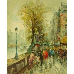 ヨーロッパ絵画 油絵 肉筆絵画 壁掛け (額縁 アートフレーム付きで納品対応可) サイズF6号 ディモニ作 「パリの街角」|touo
