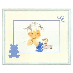 絵画 インテリア アートポスター 壁掛け (額縁 アートフレーム付き) いわさきちひろ作 「アヒルとクマと赤ちゃん」|touo