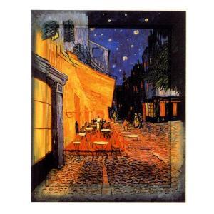 絵画 インテリア アートポスター 壁掛け (額縁 アートフレーム付き) ゴッホ作 「夜のカフェ」|touo