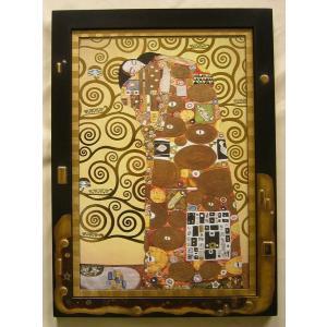 絵画 インテリア アートポスター 壁掛け (額縁 アートフレーム付き) クリムト作 「抱擁」|touo