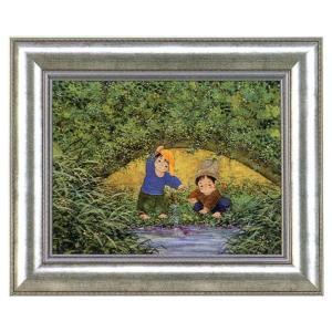版画 リトグラフ 開田 風童作 「川辺の二人」|touo