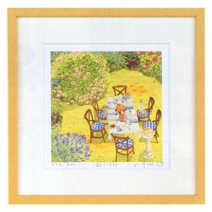 絵画 インテリア アートポスター 壁掛け (額縁 アートフレーム付き) 栗乃木ハルミ作 「庭ごはん」|touo
