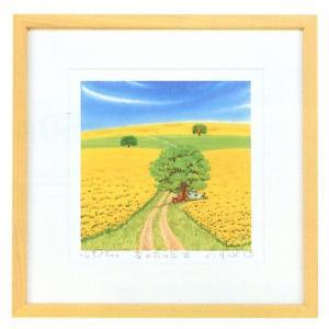 絵画 インテリア アートポスター 壁掛け (額縁 アートフレーム付き) 栗乃木ハルミ作 「菜の花の丘III」|touo