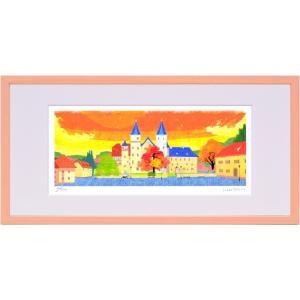 版画 リトグラフ ピエゾグラフ はりたつお作 「ローア・アム・マイン城」 400x200mm|touo