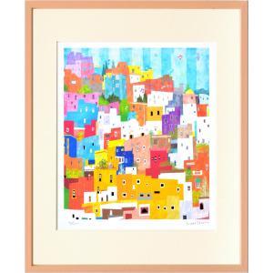 版画 リトグラフ ピエゾグラフ はりたつお作 「グアナファト(メキシコ)」 四ッ切|touo