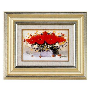 絵画 油絵 肉筆絵画 壁掛け (額縁 アートフレーム付き)Y.H.ユーン作 「花」|touo