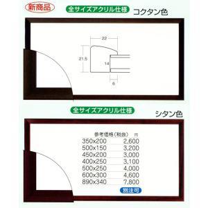 額縁 横長の額縁 木製フレーム アクリル仕様 5899 サイズ450X200mm|touo