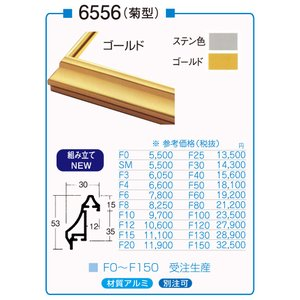 額縁 油彩額 油絵額縁 アルミフレーム 仮縁 6556 サイズP12号|touo
